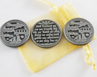 Set of 3 Traveler's Prayer Pocket Tokens with Organza Bag