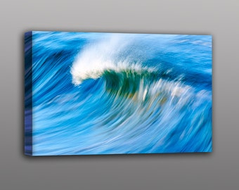 Wave Photography - Large Canvas Print Surf Photo of Wave Breaking on the Beach in California - Great gift for surfers and Ocean Lovers