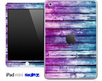 Purple and Blue Woodstained Skin for the iPad Mini, iPad 1st, 2nd, 3rd or 4th Generation
