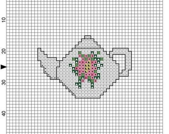 Cross Stitch Pattern Teapot Magnet  Instant Download Digital File PDF