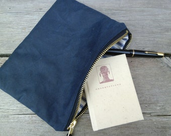 Blue Waxed Canvas Pouch // Case // Wallet // Clutch