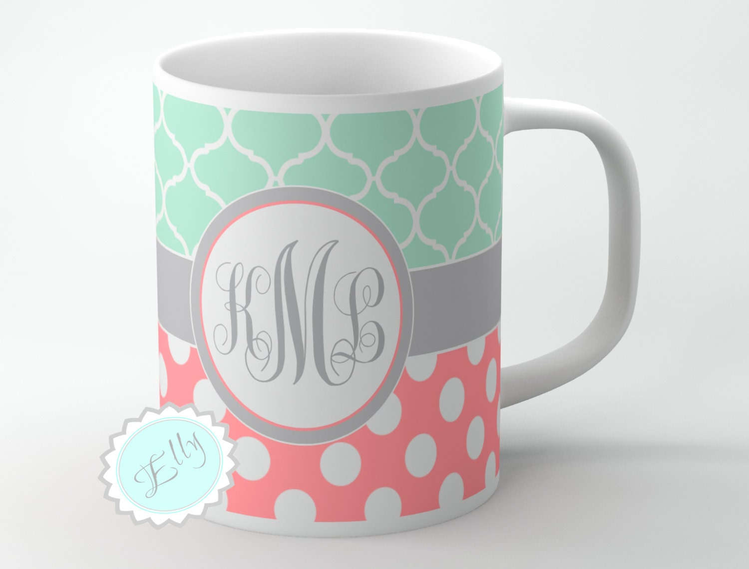 Cute Mint Clovers And Coral Polka Dots Personalized Coffee Mug