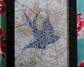 Dark Blue Swallow Cut Map Artwork