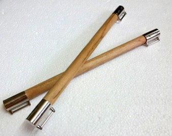 Wooden Bag Handles - Pair, Beige,Long,Ready to attach