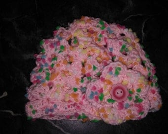 Crocheted Baby Girl Hat with Flower Newborn- 24 mo. size
