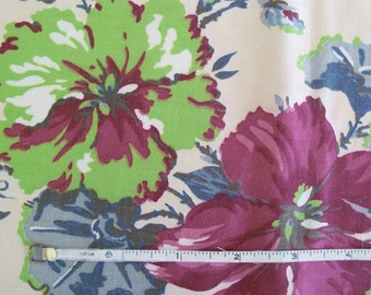 Vintage 30s Lime Green and Burgundy Floral Cotton Fabric