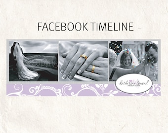 FACEBOOK banner lilac purple swirls Facebook timeline psd template - fully editable