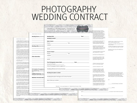 Wedding photography contract business forms flowers editable for Photographer contracts templates