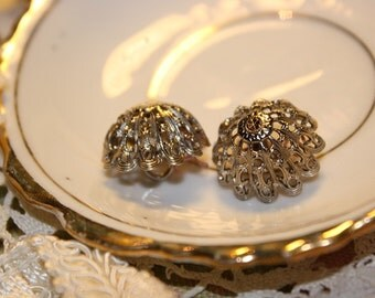 Two Silver Toned Flower Buttons VINTAGE