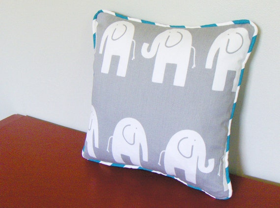 Grey Elephant Pillow Cover - Teal Piping - for 12 x 12 pillow insert