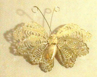 Vintage gold plated butterfly pin