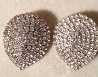 Vintage Designer Rhinestone Pierced Earrings