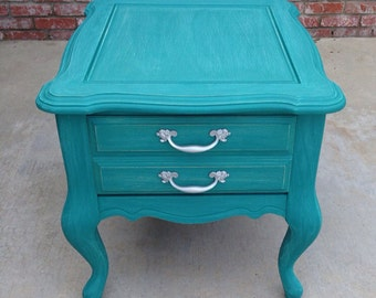 SOLD** Shabby chic teal end table/nightstand