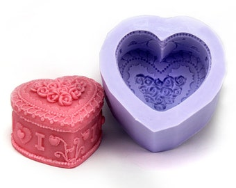 Floral Heart Box Flexible Silicone Mold Candle Mold Soap Mold Polymer Clay Mold Resin Mold LZ0102
