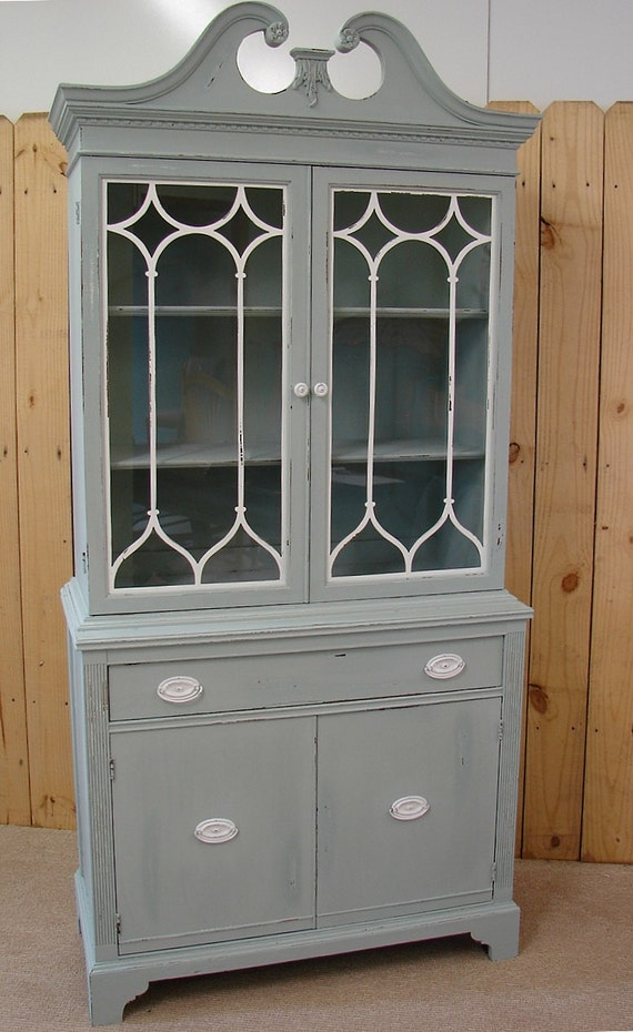 grey china cabinet vintage reclaimed gray putty painted china cabinet cupboard 16083