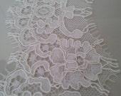 Ivory Lace Trimming, French Lace Trim, Alencon Lace, Bridal Wedding Dress Trim, White Lace Trim, Embroidered Mantilla Veil Lace yard L11062