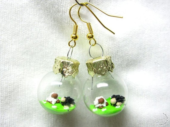 Sheep fashion earrings polymer clay jewelry glass ball lamb black and white