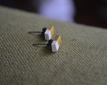 Gold dipped bar earrings
