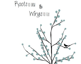 Nursery Prints  - Children's Art - Nursery Art - Baby Prints - Roots & Wings Print