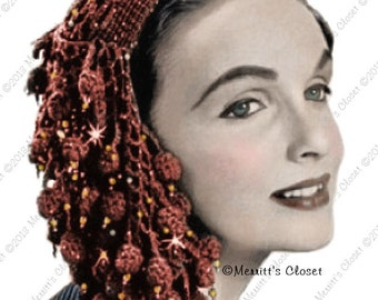1955 Sparkling Fishnet Snood, Vintage Crochet Pattern, INSTANT DOWNLOAD PDF