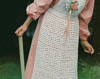 Beautiful Rosette Pinafore Bib Front Apron,  Vintage Crochet Pattern, INSTANT DOWNLOAD PDF
