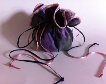 Jewelry Storage Pouch - Purple with Ribbons and Soft Flannel - Storage and Travel