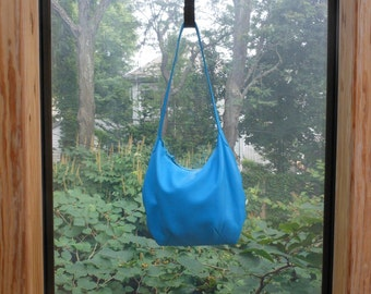 Turquoise blue leather purse.  Made to order