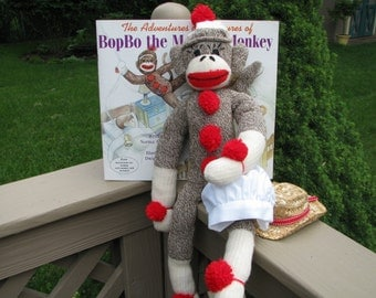 Sock Monkey Doll with Book, Bakers Hat, and Cowboy Hat Gift Set Handmade Brown BopBo the Monkey