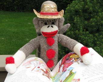 Sock Monkey Doll with Book and Cowboy Hat Gift Set Handmade Brown BopBo the Monkey