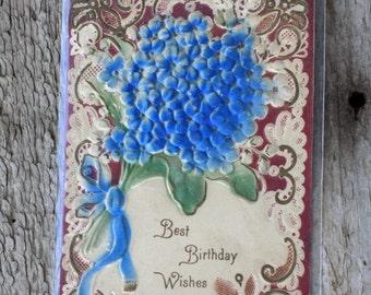 Vintage Birthday Postcard, Raised Flowers, circa 1900
