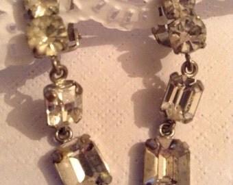 Vintage Articulated Rhinestone Bridal Earrings, Clear Rhinestone, Mid Centry Clip On Earrings