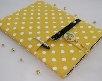 15 inch Laptop Sleeve,15 inch MacBook Pro Case, Toshiba, Dell, Asus, Acer, Lenovo Cover Padded with Pockets -Yellow  Polka Dots