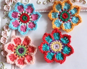 4 crochet flowers applique CH-038-01