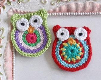 2 Crochet owls applique CH-048