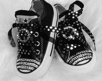 Baby infant Converse 5 Swarovski Crystals Bling SHOES All Star Converse Pageant Perfect on sale now great shower gift