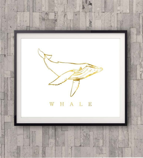 Whale Gold Print, Beach Decor, Gold Foil Print, Shiny gold finish, Nautical Decor, Beach Home Decor, Art Print , Beach Poster