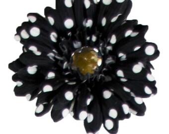 Black With White Polka Dots Silk Flower