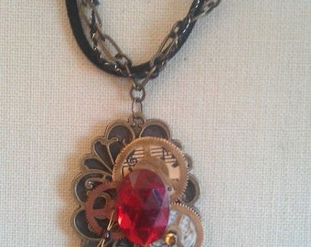 Steampunk;victorian;brooch;filigree;mixed media;collage;repurposed;recycled;gears;music;ukulele;wings;shoes;ruby tuesday
