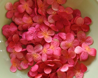 Silk Flowers - Artificial Flowers - 40 Hydrangea Flower Petals - Bright Pink/Fuchsia - DIY Headbands