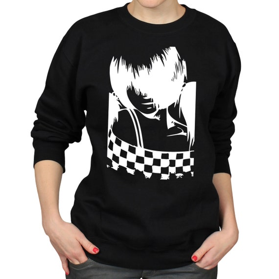 Emo Anime Girl Sweater Two Tone Crewneck Jumper Manga
