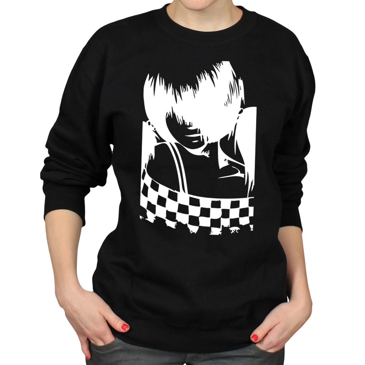 Emo Anime Girl Sweater Two Tone Ska Music Crewneck Jumper