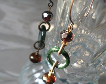 Red and green earrings, sparkly dark green earrings, cranberry earrings, maroon earrings, unique earrings, - Christmas Eve earrings