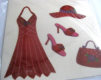 Red dress iron on transfer, Red Hat Society, appliques, high heel shoes, red purse, craft supplies, Lady in red