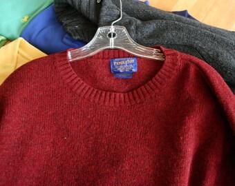 Great Pendleton Large Rust Crew-neck 100% Pure Virgin Wool Sweater Fantastic!!