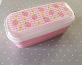 two tier pink strawberry bento box