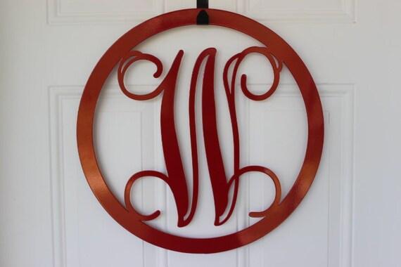 Items Similar To Metal Door Monogram Wall Hanging Sign Monogram Monogrammed Plasma Cut