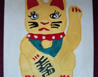 Hand Painted Ceramic Tile Lucky Cat