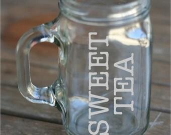 Set of 4 Sweet Tea Mason Jar Glasses