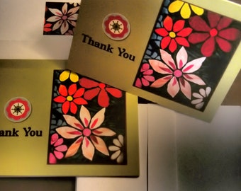 25% SALE  Thank You Card Set - Garden of Stained Glass Flowers (Blank Inside)