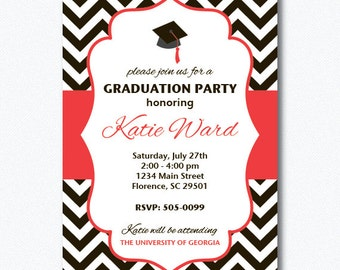 PRINTABLE Chevron Graduation Party Invitation (You Choose Your Colors)